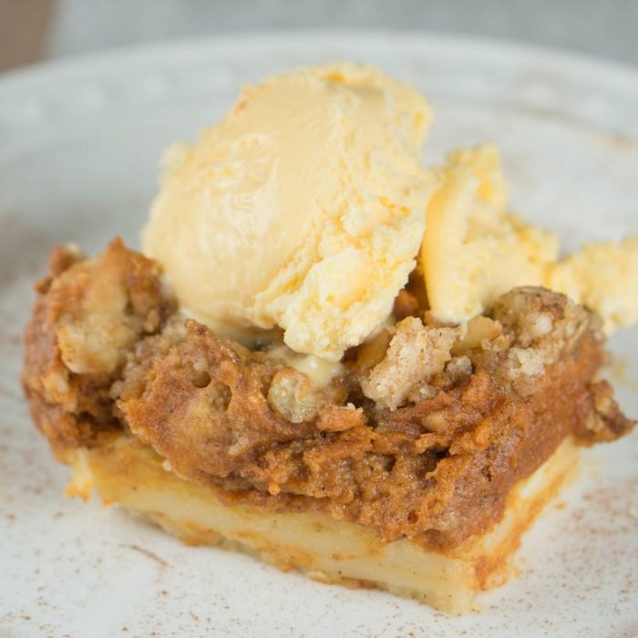 This yummy pumpkin pie layer bar recipes will remind you of a perfect, creamy slice of pumpkin pie! Tender shortbread crust and crumble topping makes it a dessert worthy to share at gatherings! Everyone will love this Fall dessert for Thanksgiving. Sprinkle with pumpkin spice as a pretty garnish.