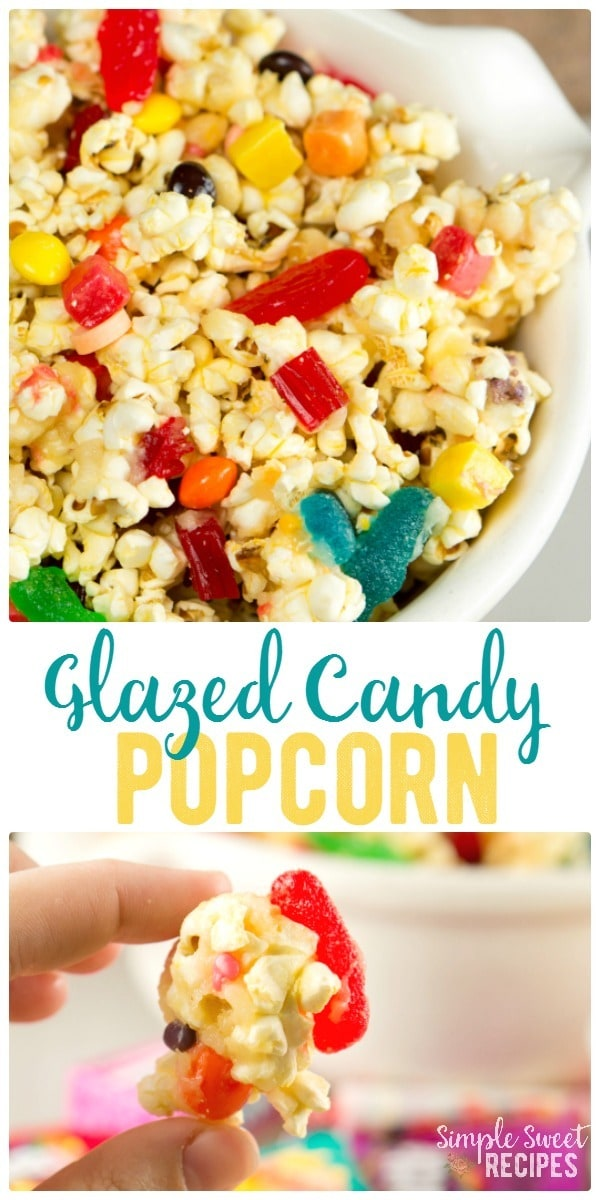 This sweet and salty glazed candy popcorn that is sure to be a delight! Perfect way to use up leftover Halloween candy as a treat for kids and adults alike.