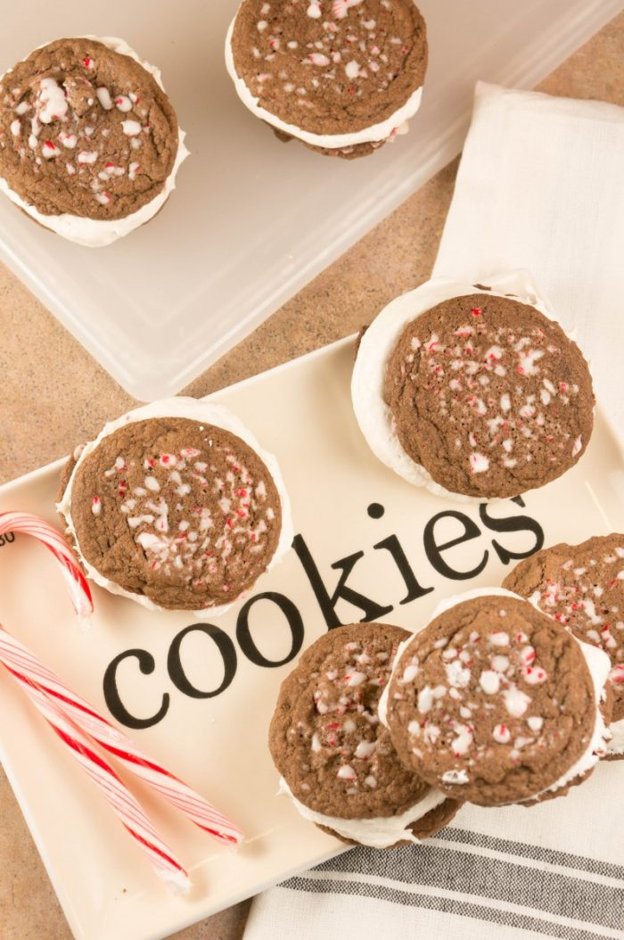 The perfect Christmas cookies, these Chocolate Peppermint Marshmallow Cream cookies will be a hit with everyone. Decadent, sweet, marshmallow cream filled! Great for holiday cookie swaps and as cookies for Santa!