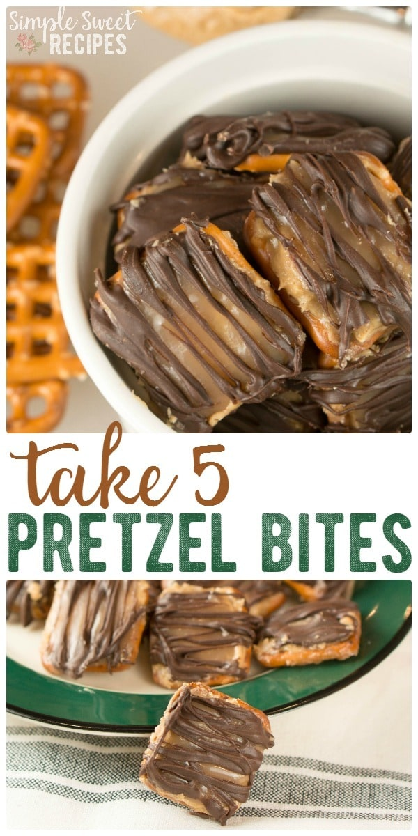 Make a homemade delicious Take 5 Candy Bars with this yummy, easy copycat Take 5 Pretzel Bites recipe! Layers of pretzels, peanut butter, caramel, and chocolate.