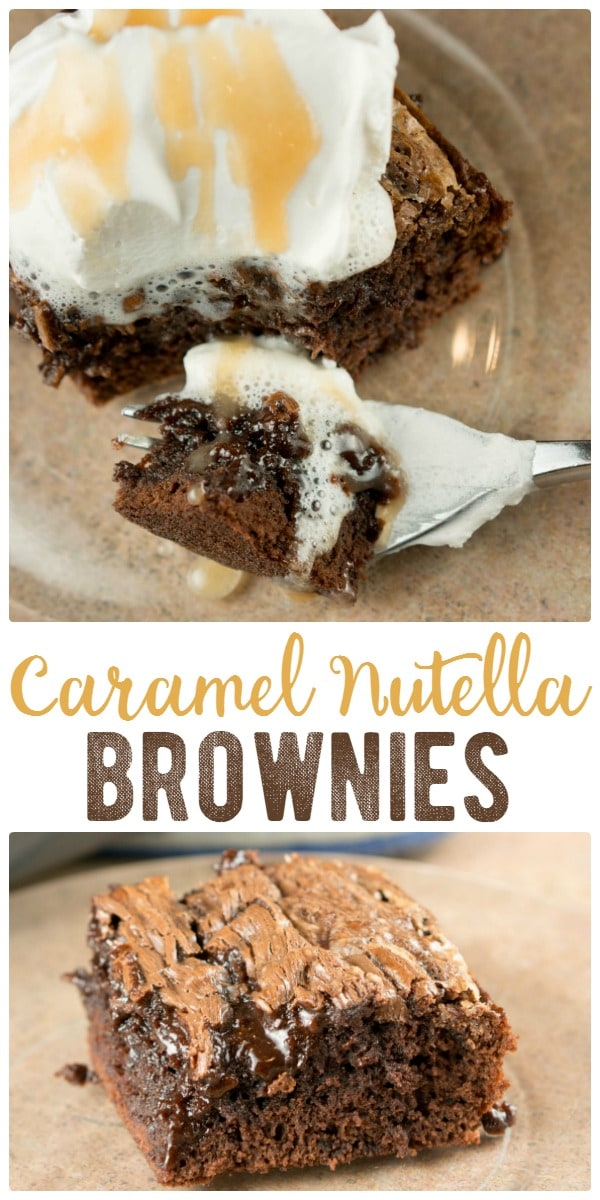 Rich and chocolately, with a swirl of sweet, Caramel Nutella Brownies is an easy, sinful dessert recipe! Makes your brownie a soft and gooey delight!