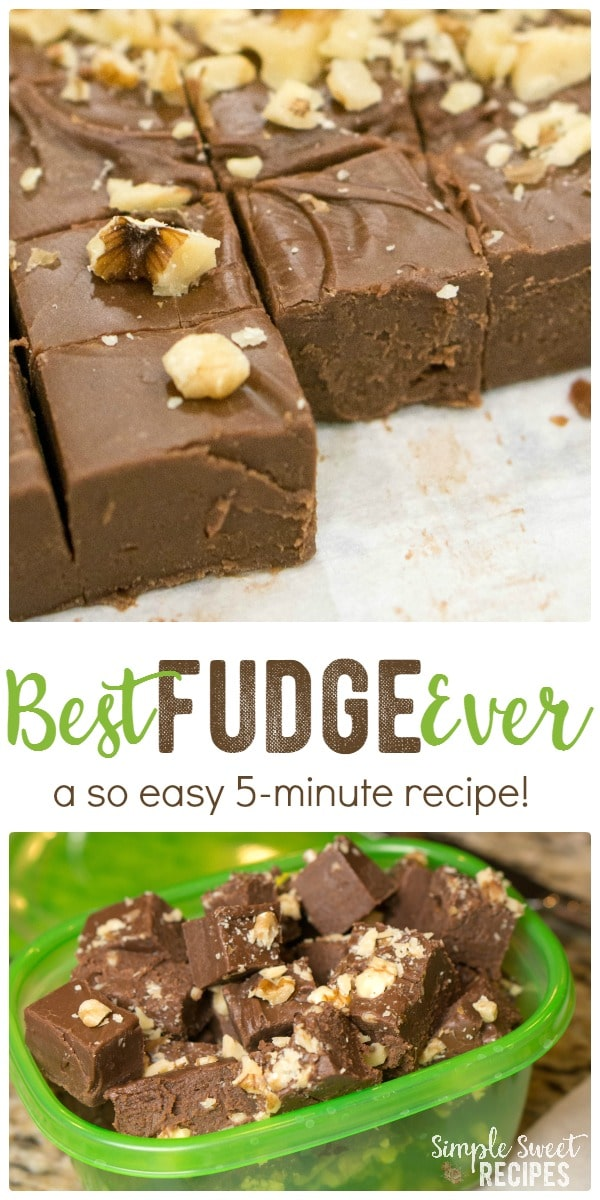 Decadent and sweet with a creamy texture. You'll never make another fudge recipe again once you try this best chocolate fudge recipe ever that takes only 5 minutes!