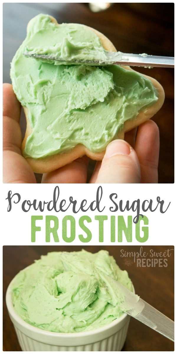 Sweet and so easy, this 4-ingredient powdered sugar frosting is my favorite! A go-to recipe for frosting soft sugar cookies, graham crackers, or cake.