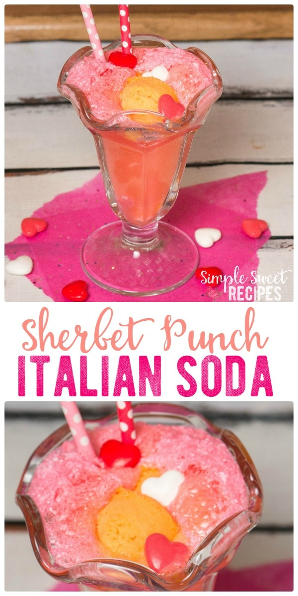This fun, fruity, Sherbet Italian Soda Punch brings a twist on classic drink with a scoop of sherbet and bubbly Sprite. A perfect treat for Valentine's Day.