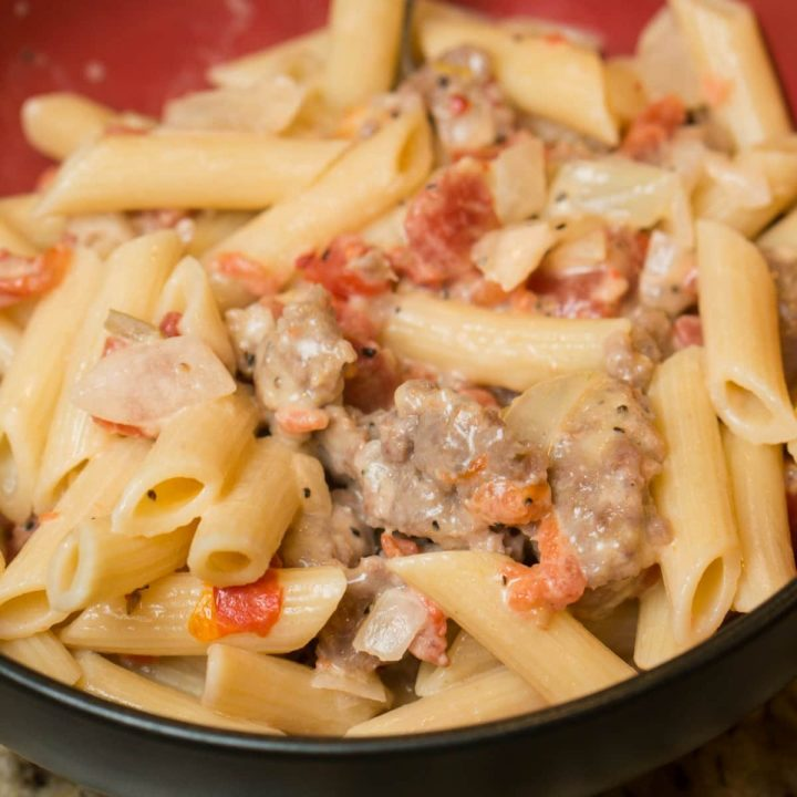 A kick of spice in this flavorful and easy dinner recipe for Spicy Italian Sausage Pasta. A filling meal idea that can be prepared in just 20 minutes.