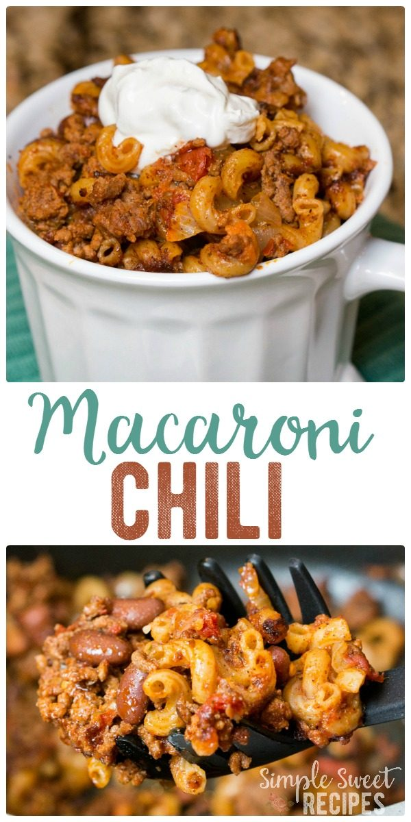 A hearty macaroni chili dinner meal that is easy and cheap to prepare. You probably have all of the ingredients already on hand! So filling with the added noodles and a one pot meal!