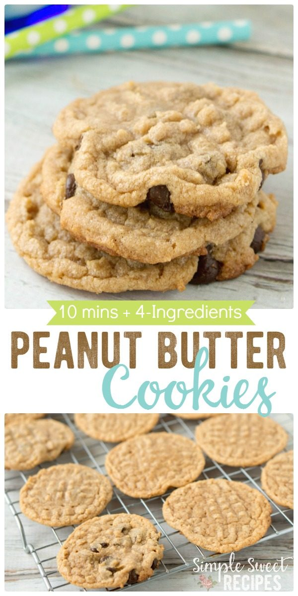 Warm, chewy, and delicious, these so easy peanut butter cookies need just 4-ingredients! This will become your go-to cookie recipe, ready in 10 minutes!