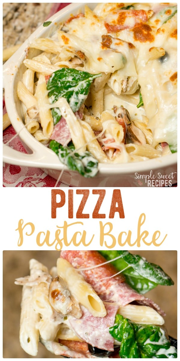 Pizza pasta bake is an exciting twist on traditional pizza. For an easy dinner add your favorite toppings to a bed of noodles and cheese.