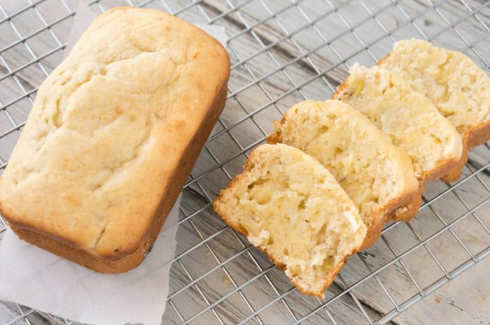 So soft, this cream cheese banana bread is moist like pound cake and so flavorful. Bake in mini loaves for easy neighbor gifts for the holidays.