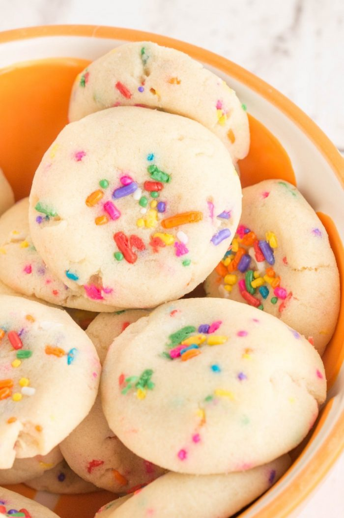 Super soft, these Cheesecake Sprinkle cookies look amazing, and taste great too! So easy with a cheesecake pudding mix as the base. They are a hit at a birthday party or any special occasion.