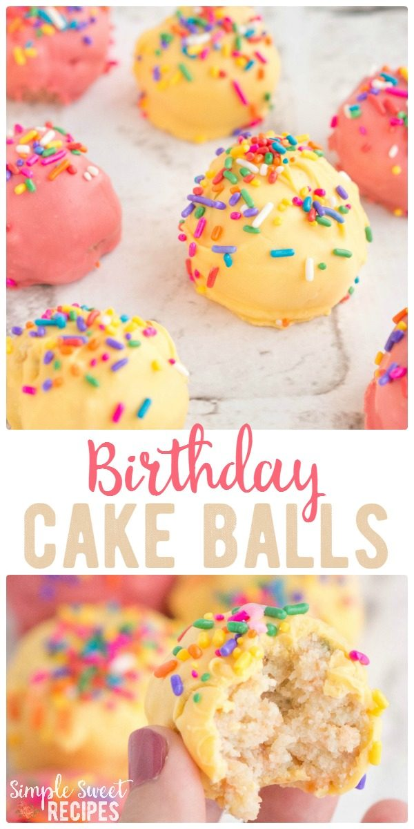 Confetti cake and sprinkles combine for these moist, delicious Sprinkle Birthday Cake Balls. A traditional birthday cake made easier to serve - grab a bite and go! Add candles for a miniature birthday cake!