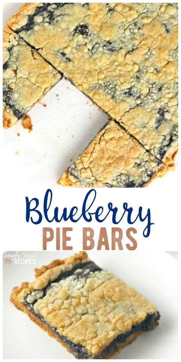 A easy dessert with less than 5-minutes prep and just 3 ingredients, these Blueberry Pie Bars will quickly become a favorite recipe. #Blueberry #Pie #Bars #3ingredients #recipe #dessert #piebars #blueberrypie