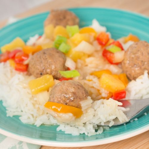 crockpot hawaiian meatballs with peppers