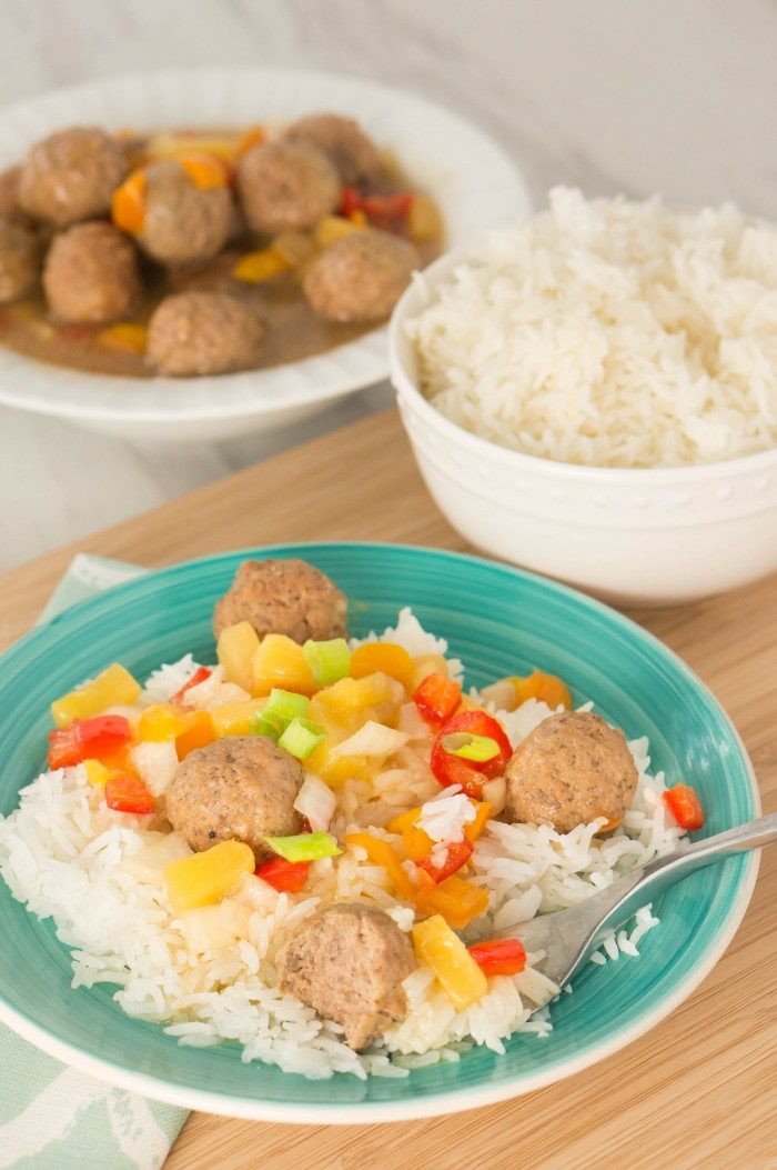 hawaiian meatballs on a plate
