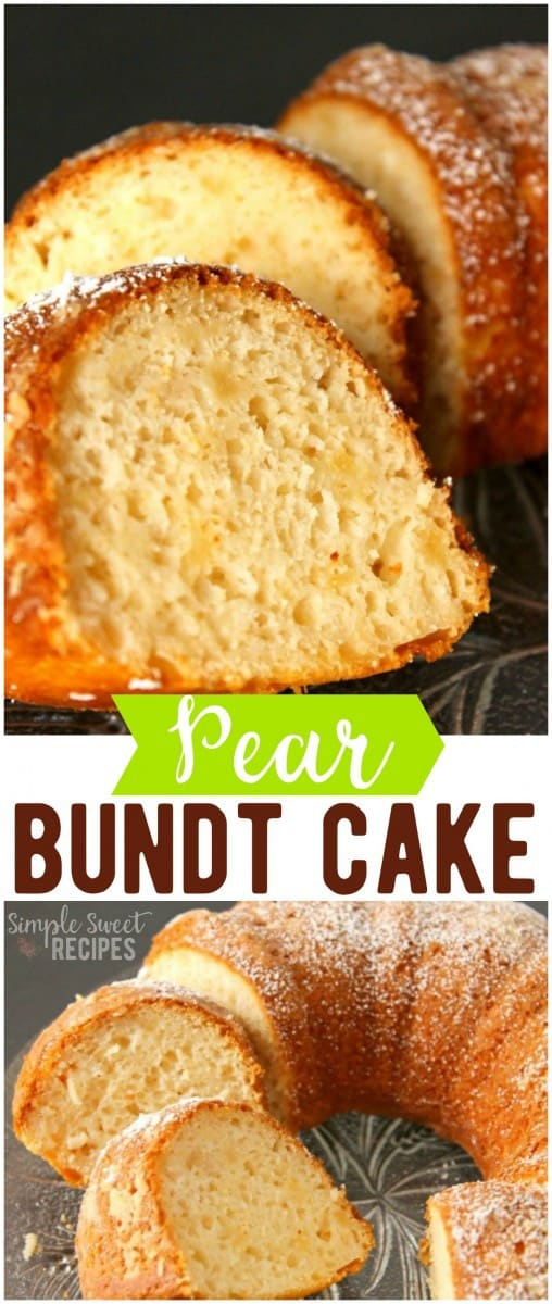 Moist and delicious, try this easy pear bundt cake that uses only 4-ingredients and can be prepped in just 5 mins! #dessert #pears #dessertrecipe #sweets #bundtcake #cake #pearcake