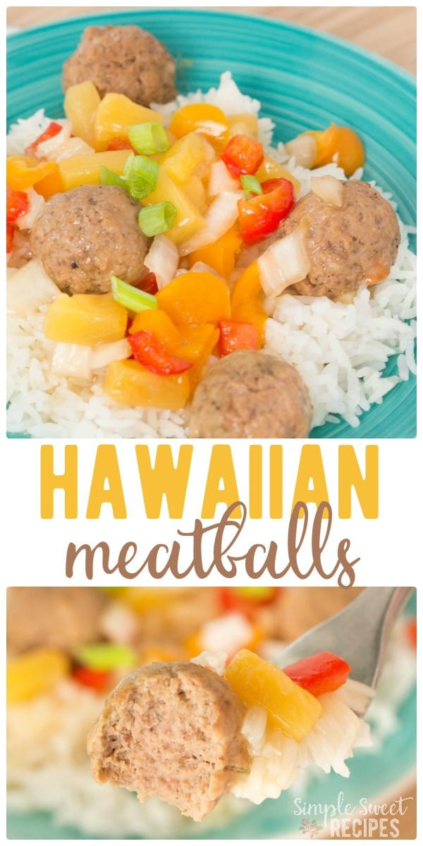 Easy Crockpot Hawaiian Meatballs with sweet bell peppers recipe is crave-worthy! Sweet and so much flavor, plus it's so easy to make. A perfect dinner recipe for a busy weeknight. Less than 10 minutes prep, then toss it in the slow cooker and you're done! #instantpot #crockpot #slowcooker #hawaiian #meatballs #hawaiianmeatballs #luau #dinner #recipes #easyrecipes #easydinnerrecipes #easydinner #bellpeppers