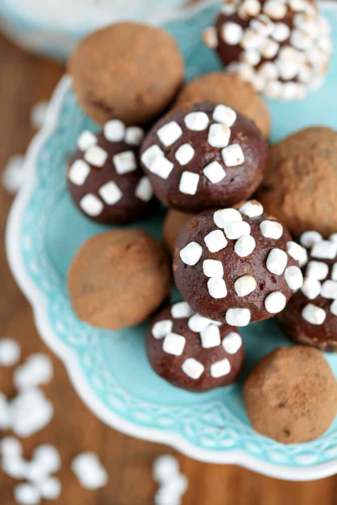 These hot chocolate truffles taste like a yummy cup of hot cocoa with two topping options! This will be a favorite Christmas dessert to share!