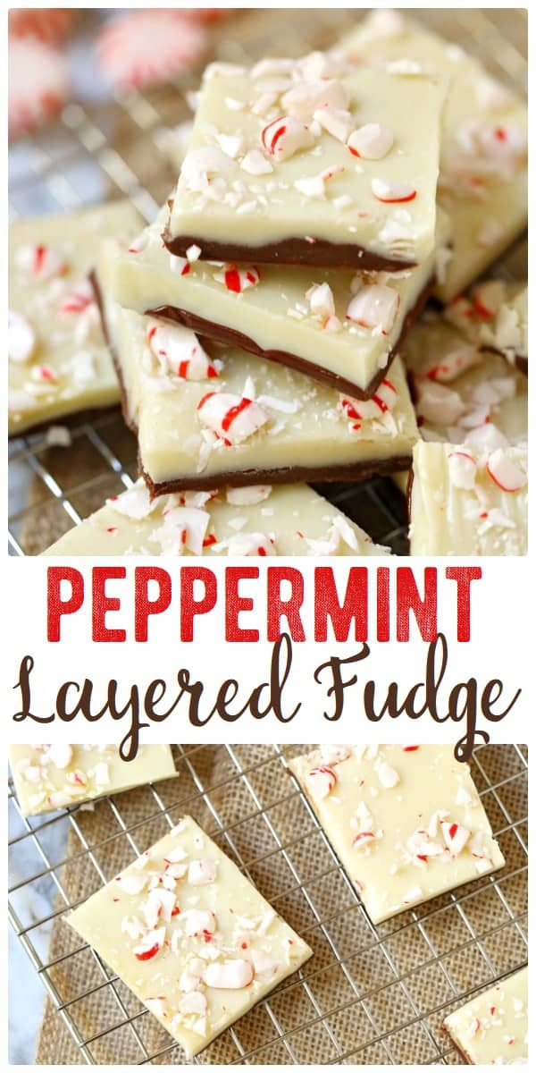 A Christmas favorite, this layered white chocolate peppermint fudge is perfect for holiday parties and gifting! Enjoy the layers of chocolate and white chocolate topped with crushed candy canes. #peppermint #fudge #chocolatefudge #fudgerecipe #recipe #dessert #christmas #christmasdessert #christmasfudge #peppermintfudge