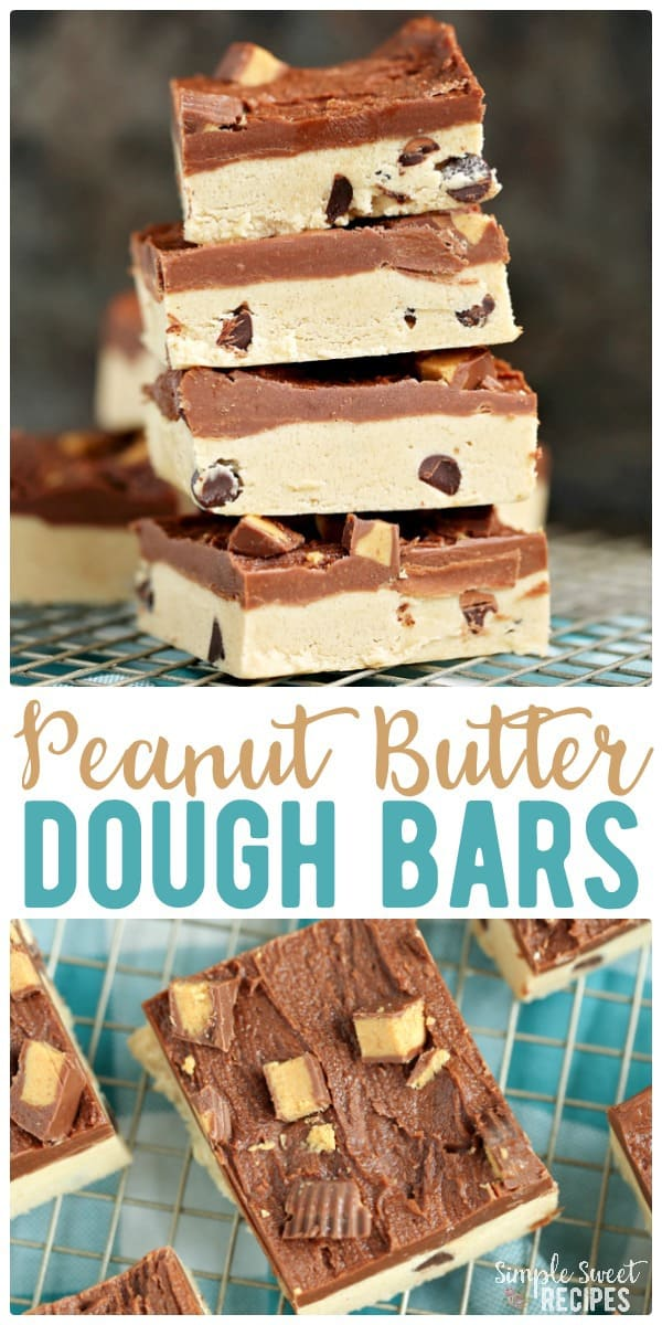 Try these Peanut Butter dough bars topped with peanut butter cups. They'll quickly become your go-to favorite treat recipe! Combining cookie dough and layers of peanut butter and chocolate - there's not much better. #peanutbutter #cookiedough #cookiebars #doughbars #dessert #dessertrecipes #easydesserts #cookierecipes #cookies #peanutbutterbars