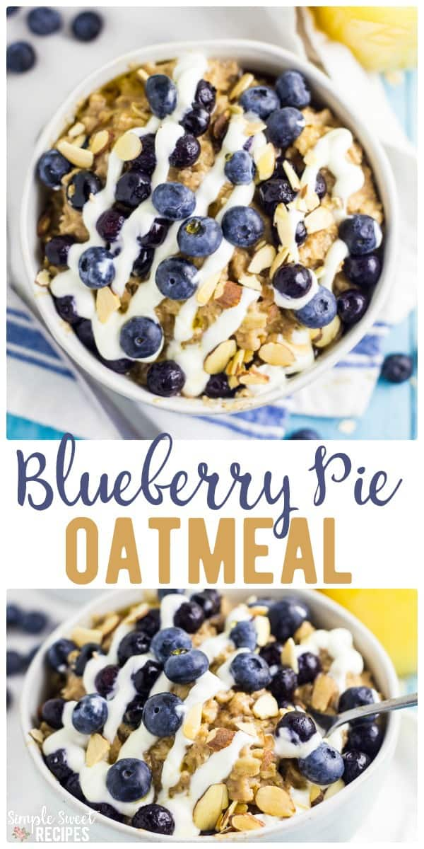 Blueberry pie oatmeal - a yummy, fast, easy and filling breakfast recipe! With filling oatmeal and creamy greek yogurt as a base you can make this recipe in just minutes! #breakfast #oatmeal #blueberry #blueberrypie #blueberryoatmeal #easybreakfast #easyrecipes #recipe #breakfastrecipes