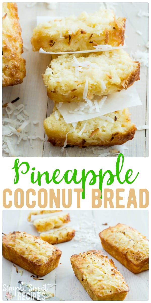 A taste of the islands, this pineapple coconut bread recipe combines your favorite  two ingredients into a sweet loaf that takes about 10 minutes prep. #Pineapple #Coconut #Bread #Loaf #BreadRecipes #recipes #PineappleBread