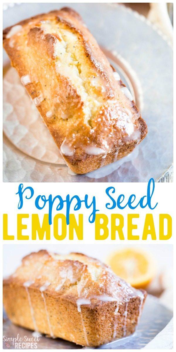 This sweet Glazed Lemon Poppy Seed Bread recipe with lemon juice, zest, poppy seeds, a cake-like batter, and a powdered sugar glaze is dream worthy. #PoppySeed #LemonBread #Lemon #Glaze #Dessert #SweetLoaf