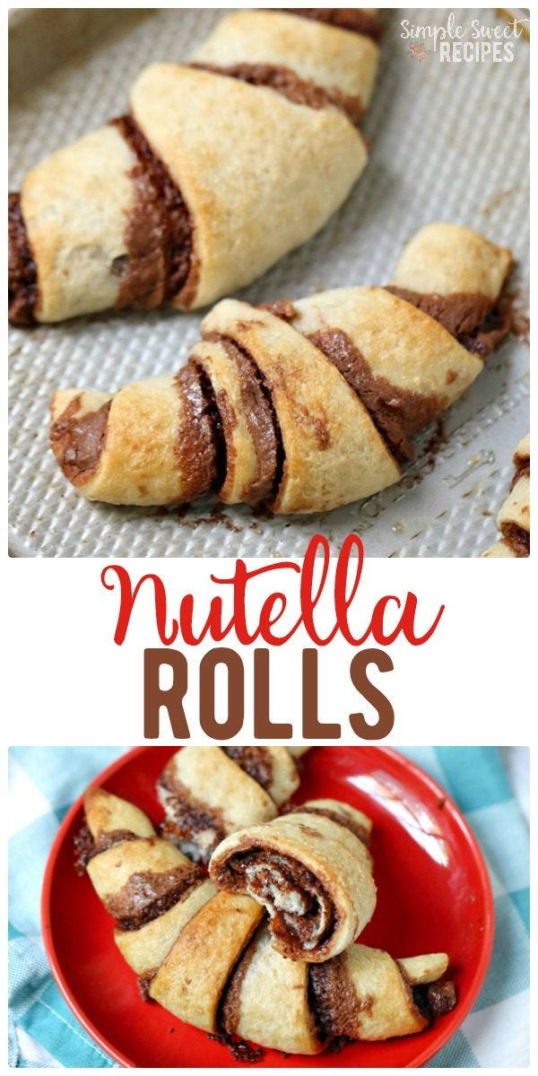 Easy 4-ingredient nutella rolls. This fun dessert / treat recipe can be prepared in just a few minutes and the warm flakey layers will taste heavenly. #Nutella #Dessert #DessertRecipes #NutellaRolls