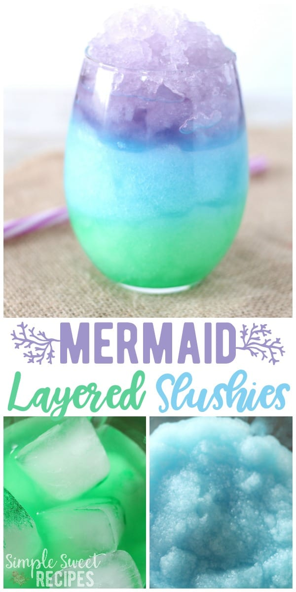 This fun and colorful (and so easy) Mermaid Layered Slushies recipe is just begging to be enjoyed! The perfect summer treat with just a few simple ingredients. #recipe #drinkrecipes #drinks #nonalcoholicdrinks #slushies