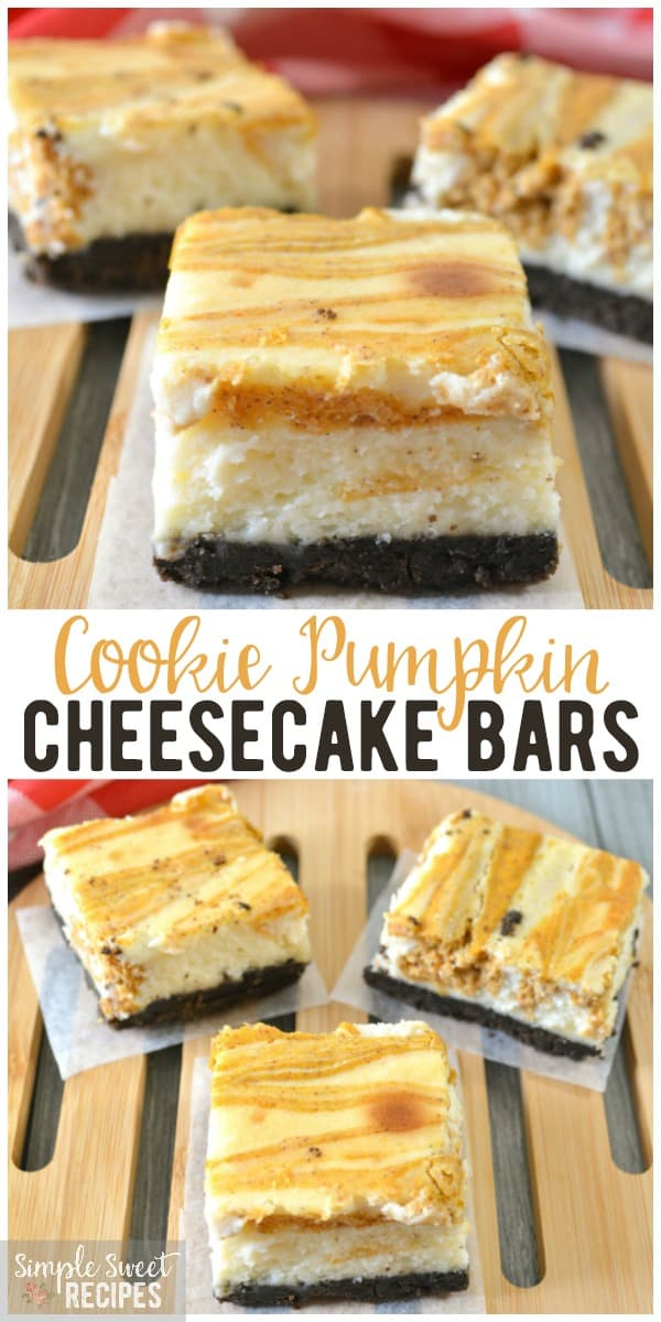 The perfect fall dessert, these cookie crust pumpkin cheesecake bars are rich with flavor and striking with the layers and swirled pumpkin cheesecake filling. #dessert #pumpkin #pumpkincheesecake #pumpkindesserts #falldesserts #cookiecrust #cookies #cheesecake #cheesecakebars #recipes