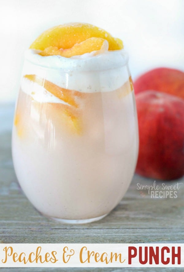 Peaches and Cream party punch recipe! A quick and easy family friendly (non-alcoholic) drink with just 4 easy ingredients! A sparkling drink with lots of flavor and a pretty and unique juice! #peachesandcream #peaches #cream #icecream #sprite #punch