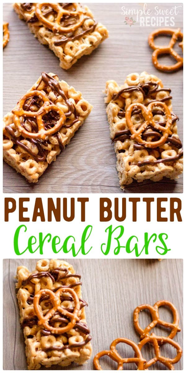 Homemade, no-bake, so easy cereal bars! These are loaded with cheerios, marshmallow, and peanut butter and topped with chocolate and pretzels. The perfect combination of sweet and salty with lots of protein to keep you feeling full longer. A fun breakfast on the go option or after school snack / treat. #cereal #breakfastbars #cerealbars #cheerios #pretzelbars #dessert #snacks #afterschoolsnacks #marshmallows #chocolate