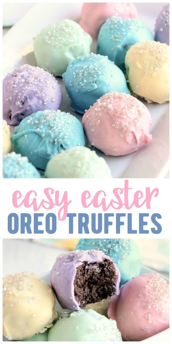 Easter oreo truffles on a platter in pretty pastel colors