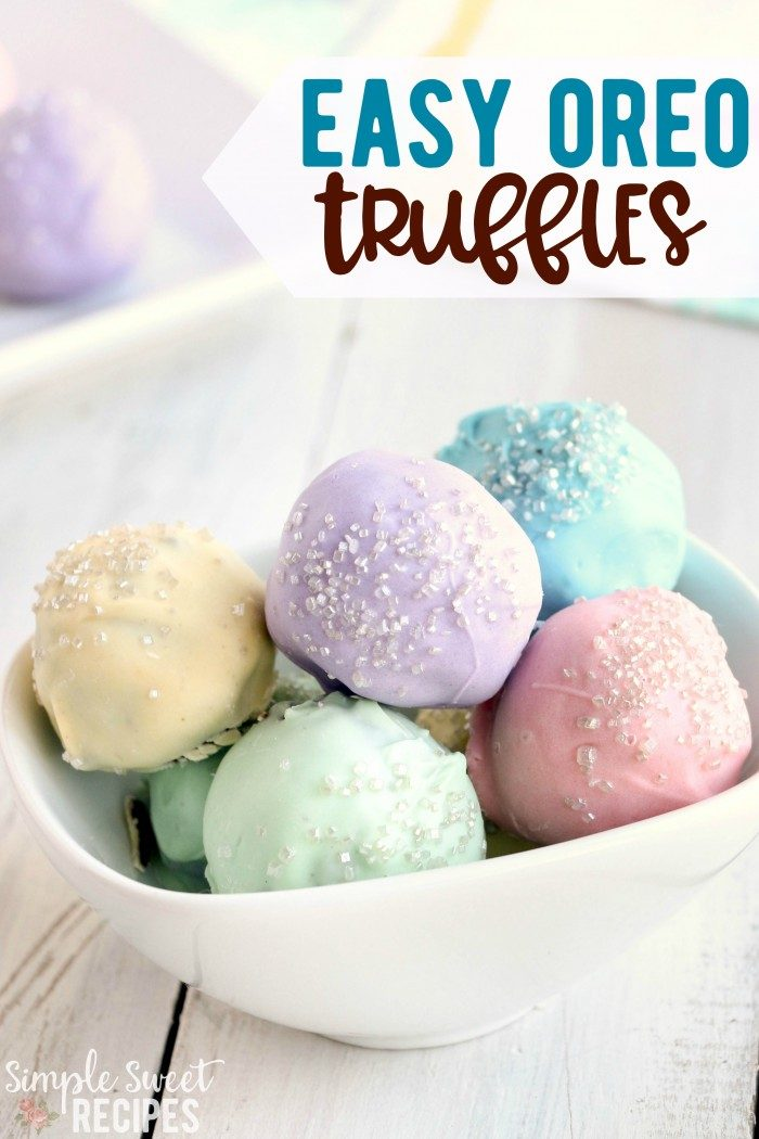 colorful pastel oreo truffles in a bowl