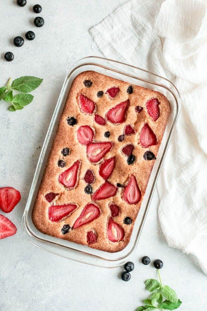 Triple Berry Cake in baking pan