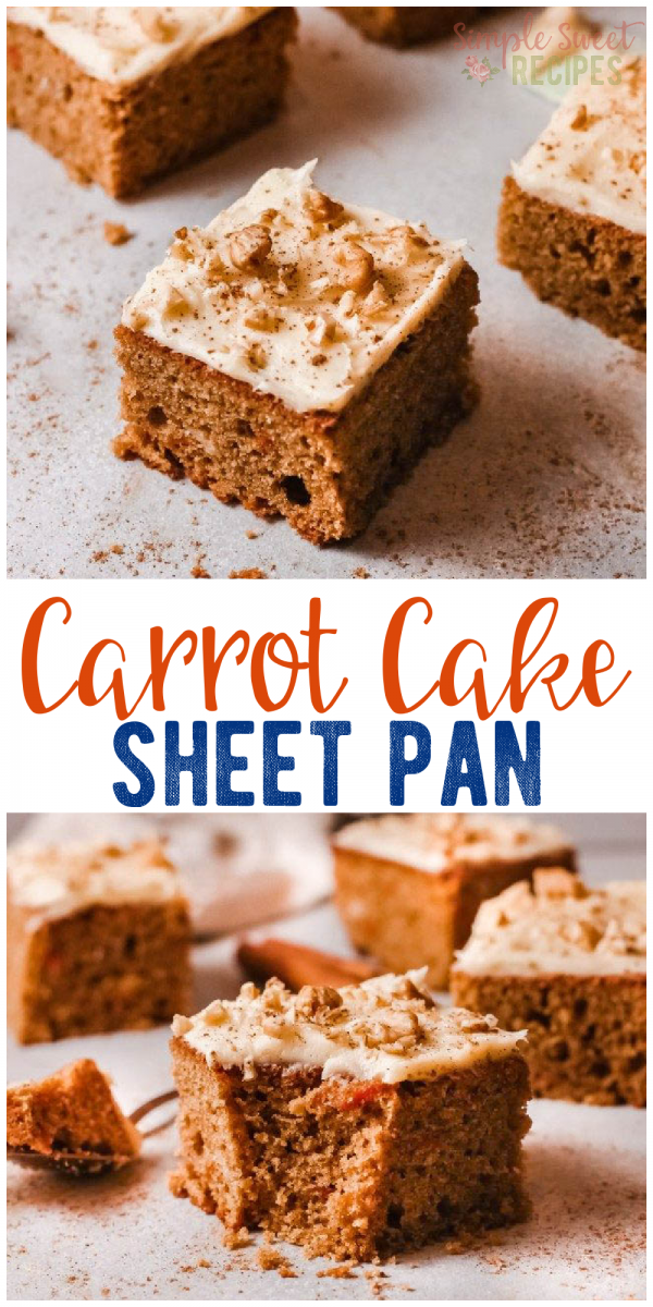 Try this easy, easy carrot cake sheet pan recipe! Perfect carrot cake recipe for a crowd!
