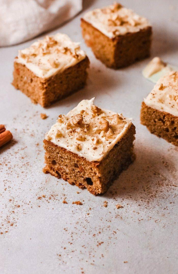 Slices of sheet pan carrot cake
